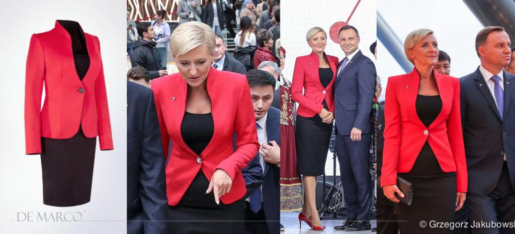 Pierwsza Dama RP Agata Duda w czerwonym żakiecie Venus i czarnej spódnicy firmy De Marco.