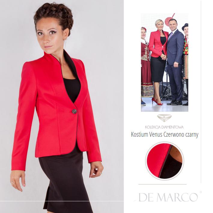 czerwony żakiet De Marco, firmy z Frydrychowic