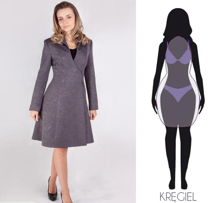 Najmodniejszy płaszcz żakardowy, asymetryczny idealny dla sylwetki: kręgiel, grószka, klepsydra