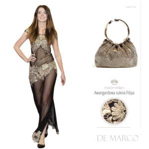 przezroczysta długa suknia balowa ze złotą koronką