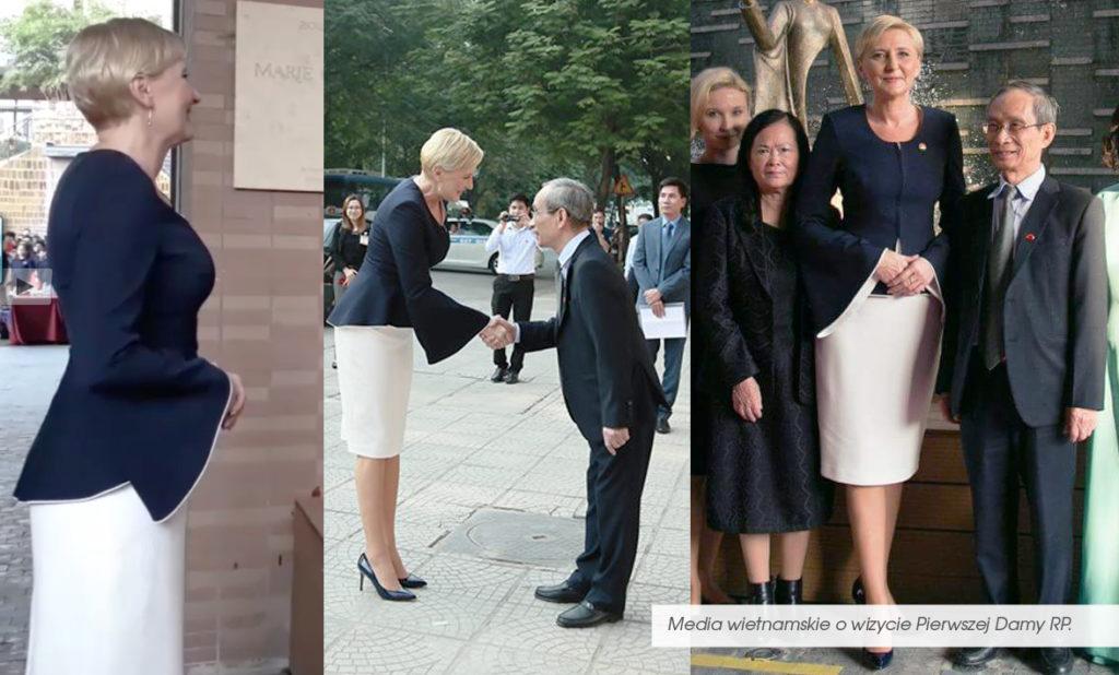 Pierwsza Dama Polski w Hanoi. Agata Duda wystąpiła w grsonce polskiej projektantki mody. Królewski kostium z De Marco.