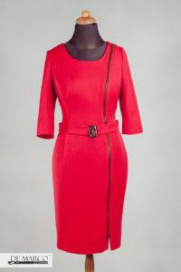 czerwona sukienka do biura. Biznesowa sukienka