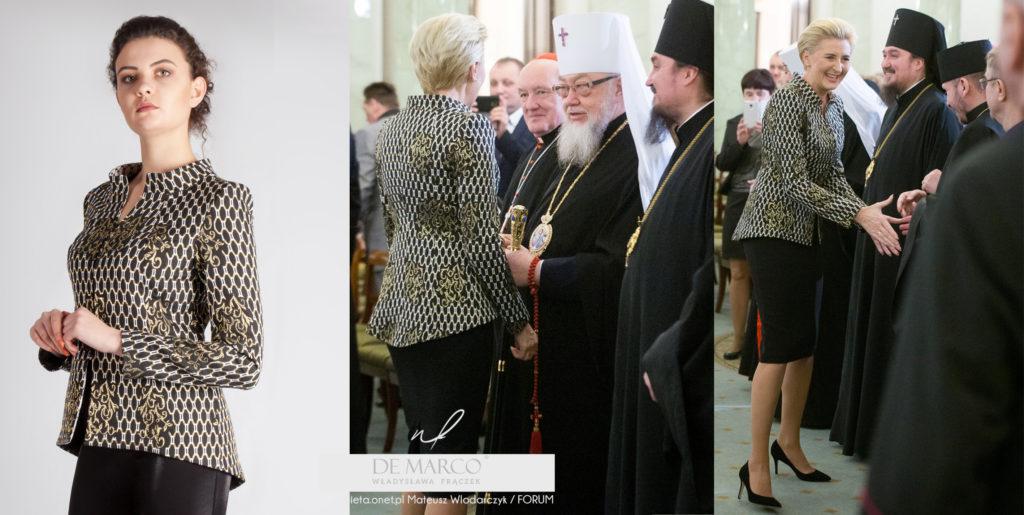 garsonki i kostiumy damskie sklep internetowy. Agata Duda w żakiecie z De Marco z Frydrychowic k.Wadowic