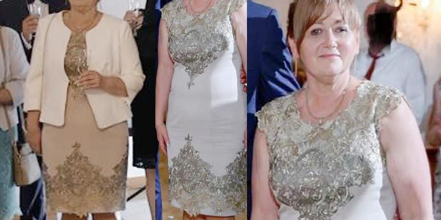 Sukienka anastazja z De Marco szyta na miarę dla mamy weselnej.