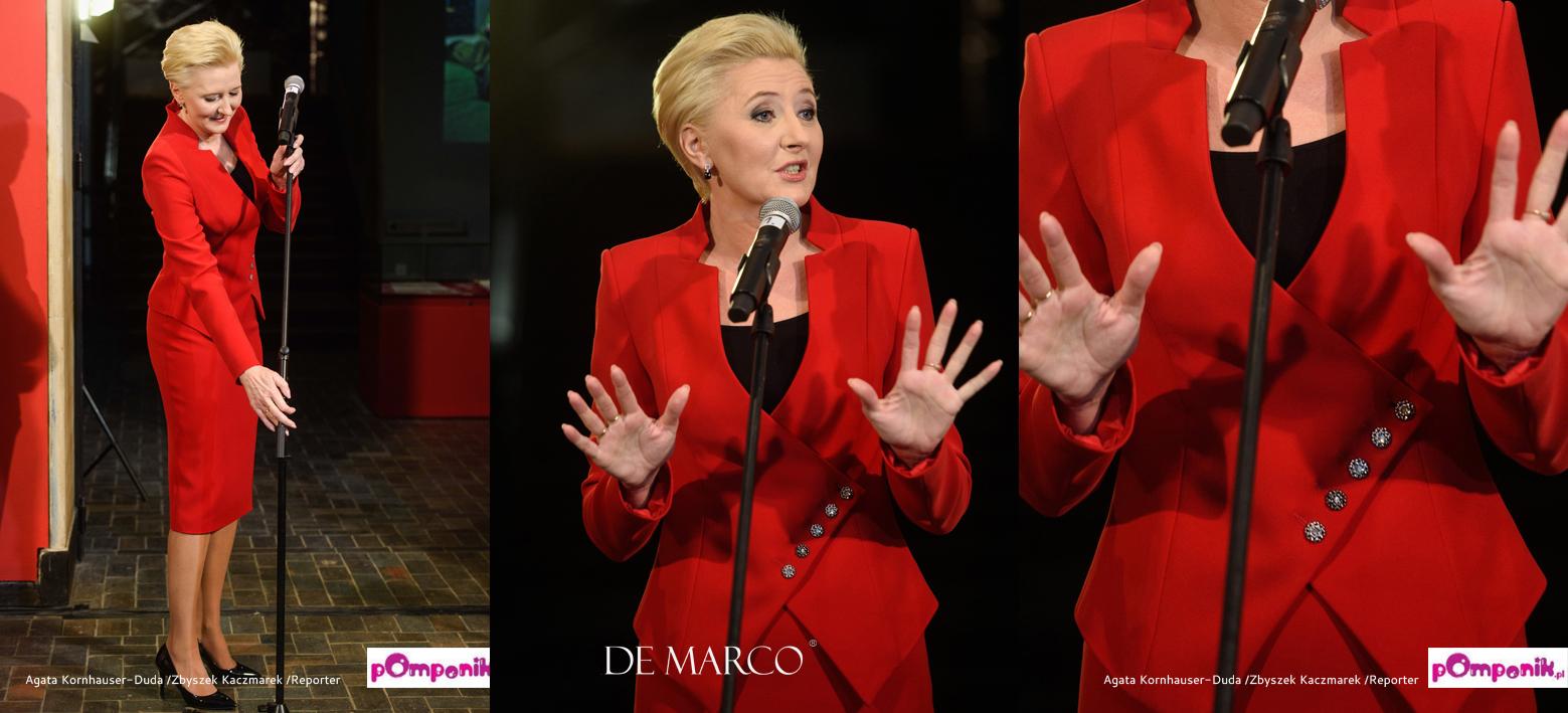 Najpiękniejsza czerwona stylizacja Agaty Dudy. Pierwsza Dama ubiera się w De Marco z Frydrychowic.