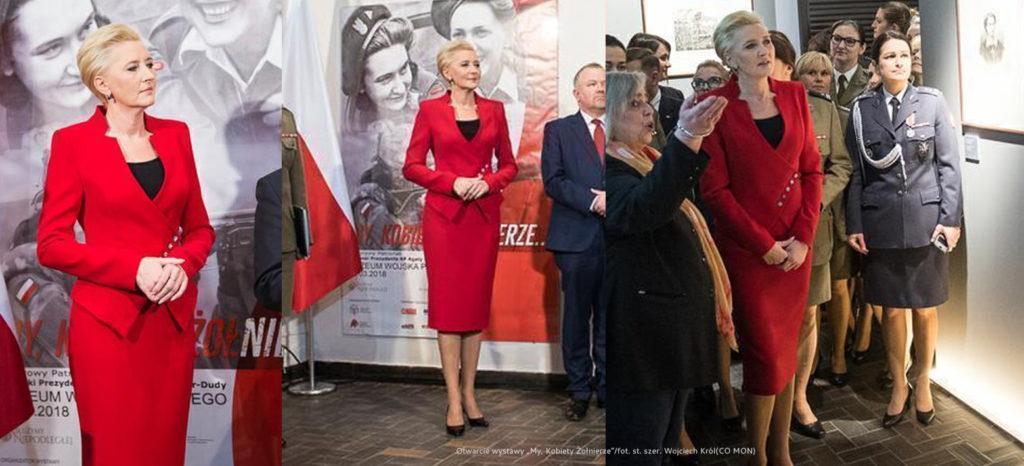 Gdzie ubiera się Pierwsza Dama? Czerwony elegancki kostium wizytowy Agaty Dudy od projektantki z Frydrychowic.