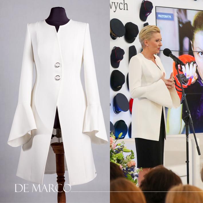 Jasny płaszcz do sukienki, szyty na miarę u projektanta