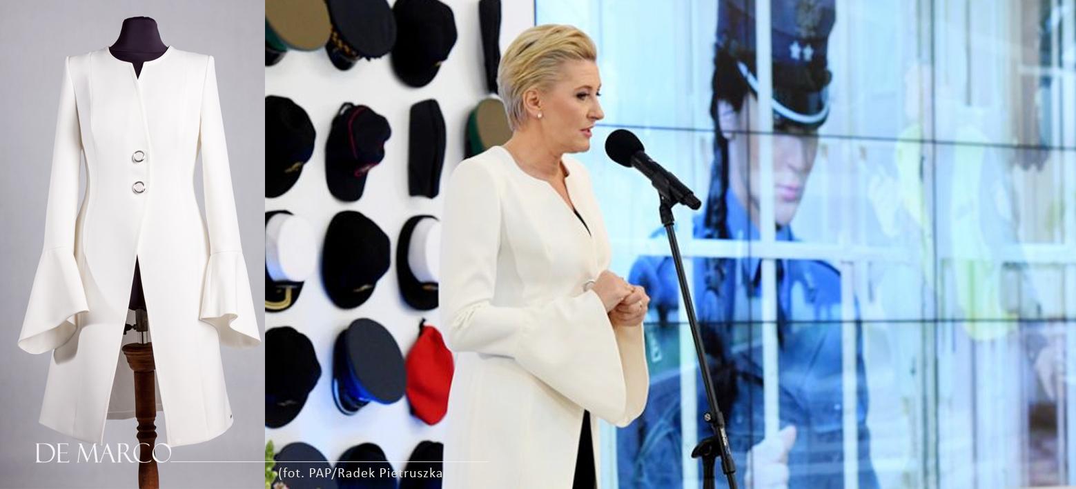 Elegancka Pierwsza Dama w białym płaszczu De Marco z Frydrychowic. Pani Prezydentowa w płaszczu De Marco z Frydrychowic
