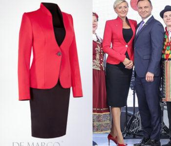 Elegancki wizytowy kostium damski szyty na miarę w De Marco. Marka Pierwszej Damy Agaty Dudy.