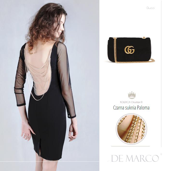 Czarna sukienka bez pleców od projektanta. Sukienki balowe sklep internetowy.