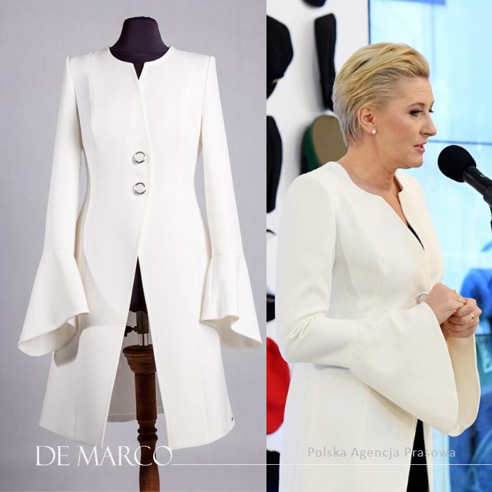 płaszczyk do sukienki. Agata Duda w białym płaszczu z De Marco z Frydrychowic