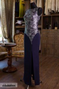 Garanatowa długa sukienka z rozcięciem, szyta na miarę we Frydrychowicach w De Marco