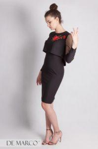 Czarna elegancka sukienka biznesowa, wizytowa.