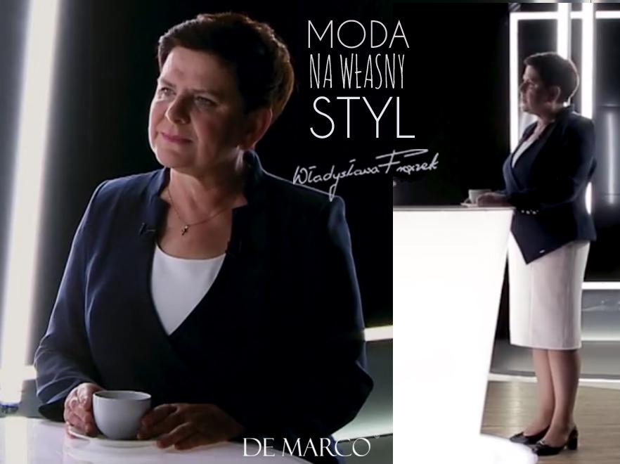 Premier Beata Szydło w Kostiumie wizytowym z De Marco. Projektantka i stylistka Władysława Frączek.