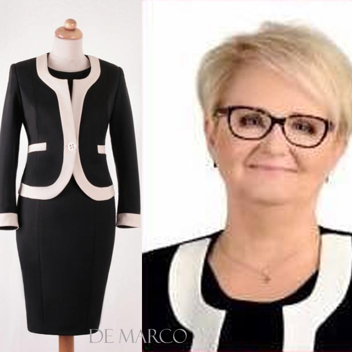 Pani Marta Pieczka w stylizacji od P. Władysławy Frączek z De Marco. Garsonka biznesowa, wizytowa.