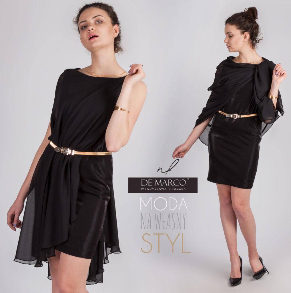 De Marco sukienki szyte na miarę. Czarna sukienka balowa, dwuczęściowa, sklep internetowy