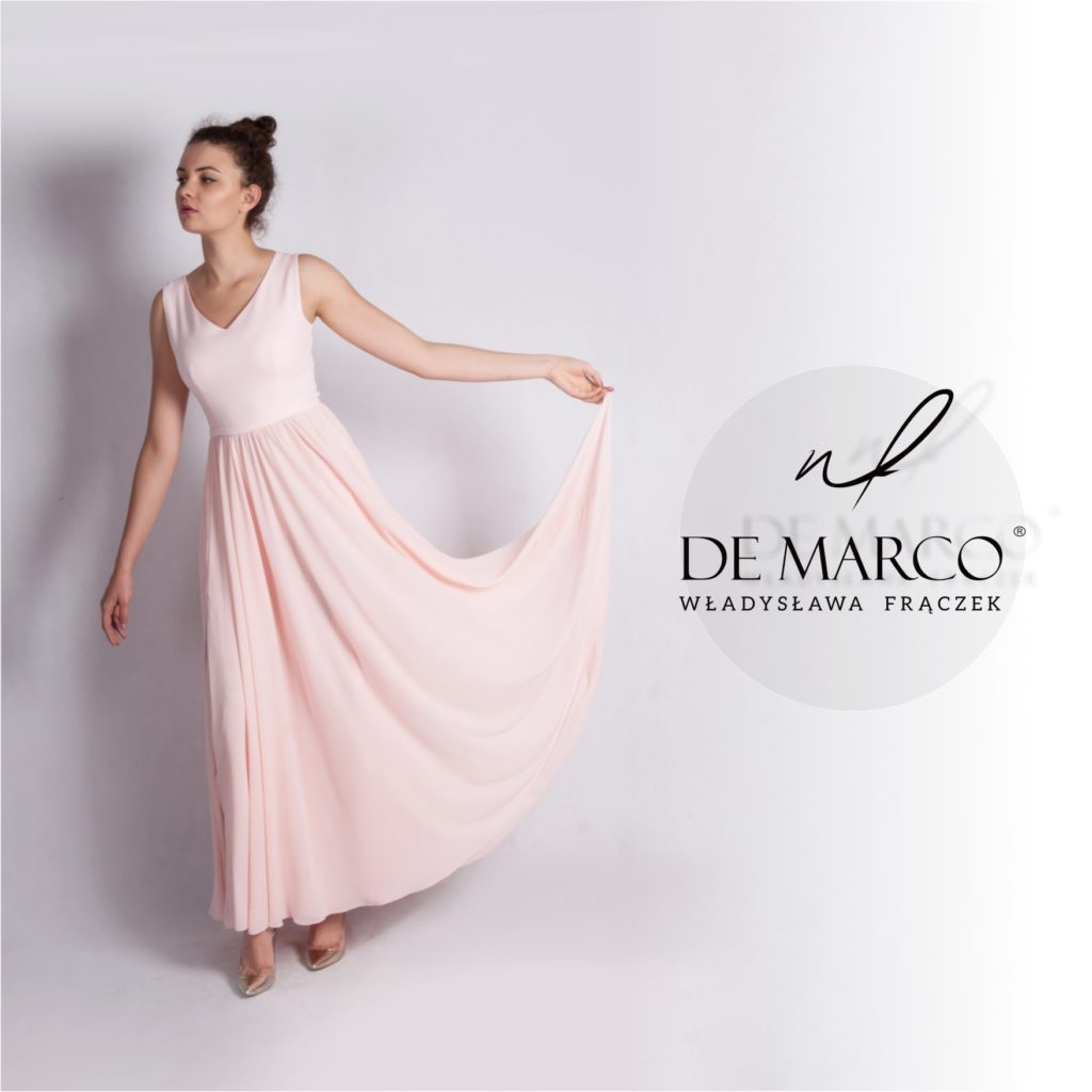 Długa suknia balowa na wesele, dla mamy, świadkowej druhny czy chrzestnej. De Marco z Frydrychowic.
