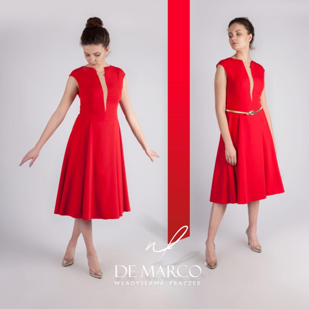 Wizytowa sukienka do pół łydki szyta na mirę w De Marco. Sukienki midi idealne na wesele i na firmowy piknik.