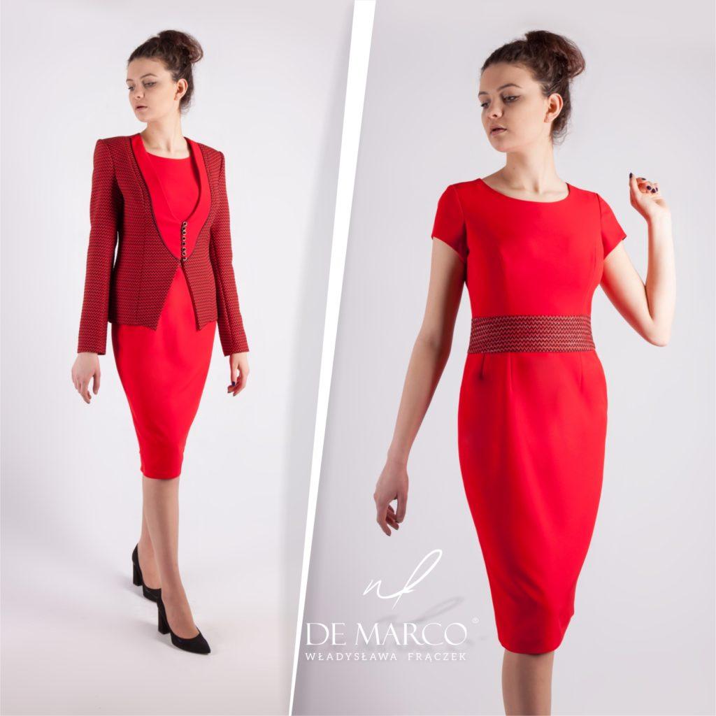 Wizytowy kostium damski szyty na miarę u projektantki mody z De Marco. Komplet żakiet z ołówkową sukienką midi.