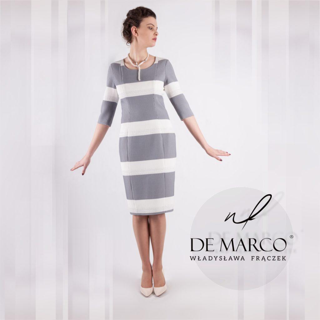 Eleganckie sukienki biznesowe z De Marco. Rękaw 3/4.