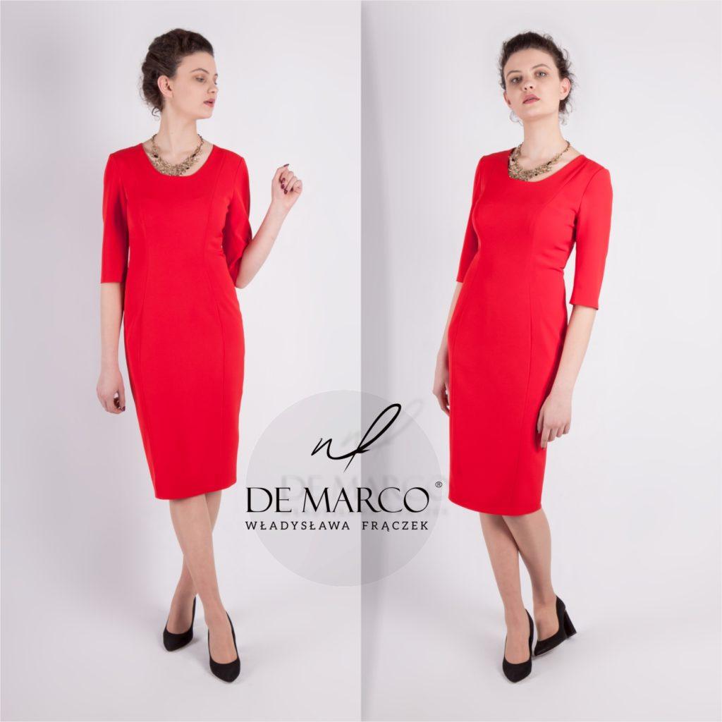 Elegancka sukienka biznesowa z rękawem do łokcia