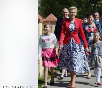 Czerwony żakiet z De Marco na warszawskich salonach. Kolejna stylizacja Władysławy Frączek, w której wyszła Pierwsza Dama Agata Duda.