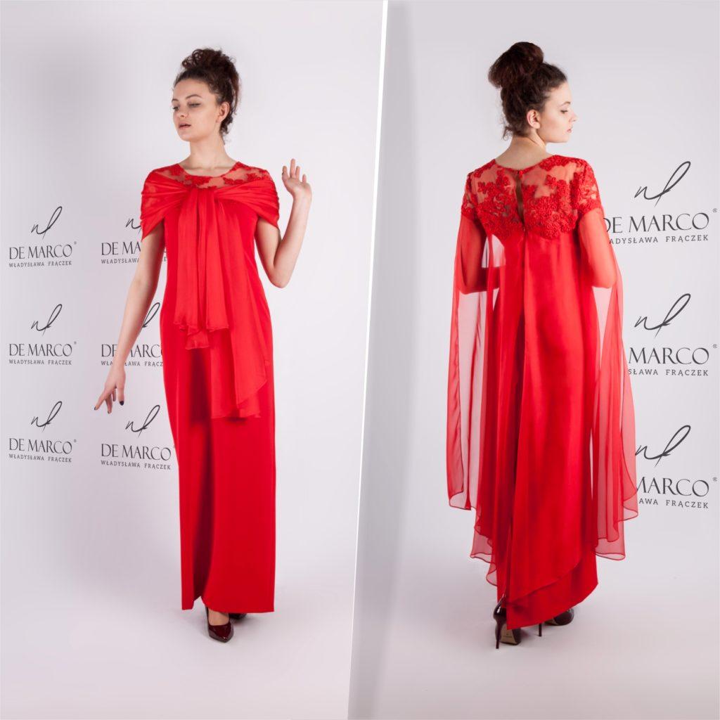Czerwona długa suknia dla mamy wesela. Szycie na miarę ekskluzywnej odzieży damskiej u projektanta mody z Frydrychowic k. Wadowic, spod Krakowa.