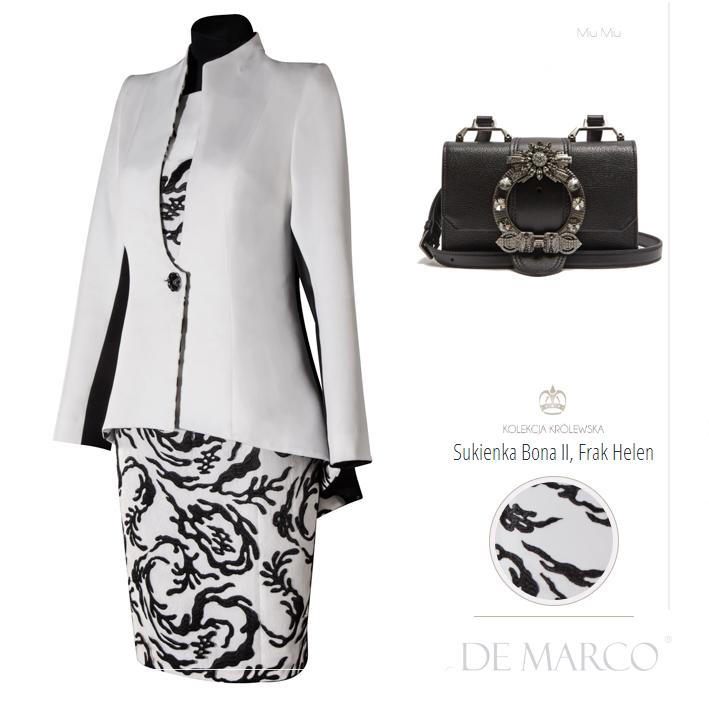 Biało czarna kreacja dla mamy wesela. Komplet sukienka z frakiem na ślub córki lub syna. Sklep internetowy projektantki mody z Frydrychowic. Salon Mody Ślubnej De Marco.