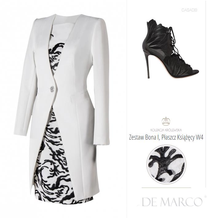 Ekskluzywny płaszcz do biało czarnej sukienki na wesele. Szycie na miarę kreacji w stylu Royal Wedding dla mamy pana młodego lub pani młodej.