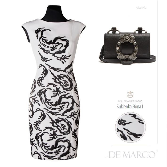 Najpiękniejsze biało czarne sukienki na wesele. Szycie na miarę kreacji dla mamy wesela. Zamów wymarzoną sukienkę na ślub dziecka w Salonie Mody Ślubnej De Marco.
