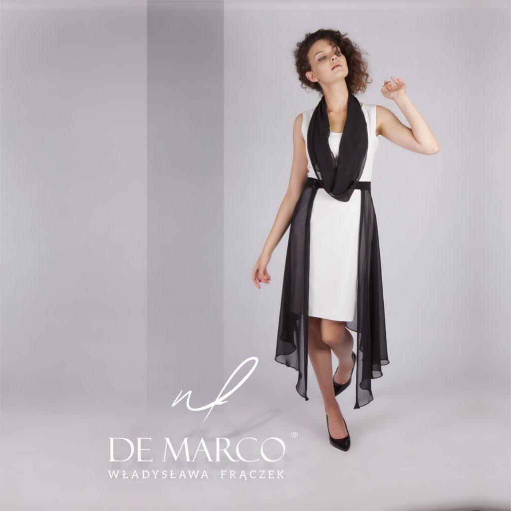Niebanalne stylizacje dla mamy wesela od projektantki mody z Małopolski. Czarnobiała sukienka na wesele. Sklep internetowy De Marco