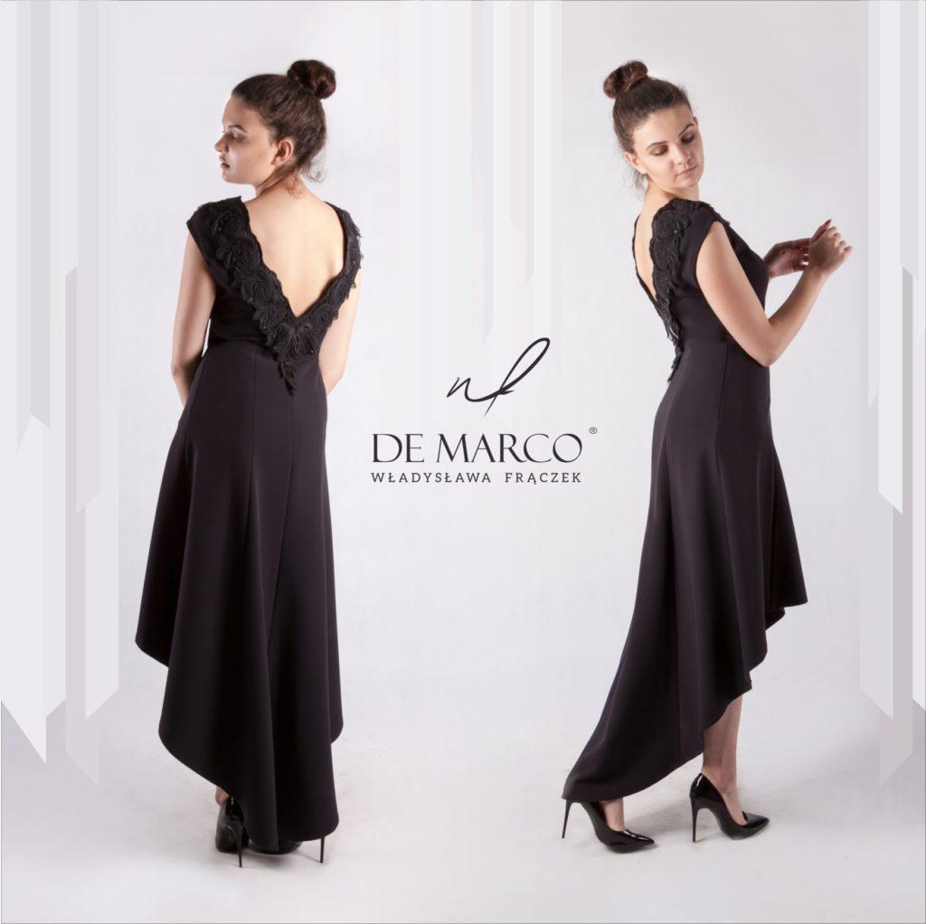 Asymetryczna suknia szyta na miarę w De Marco. Sklep internetowy projektantki mody.