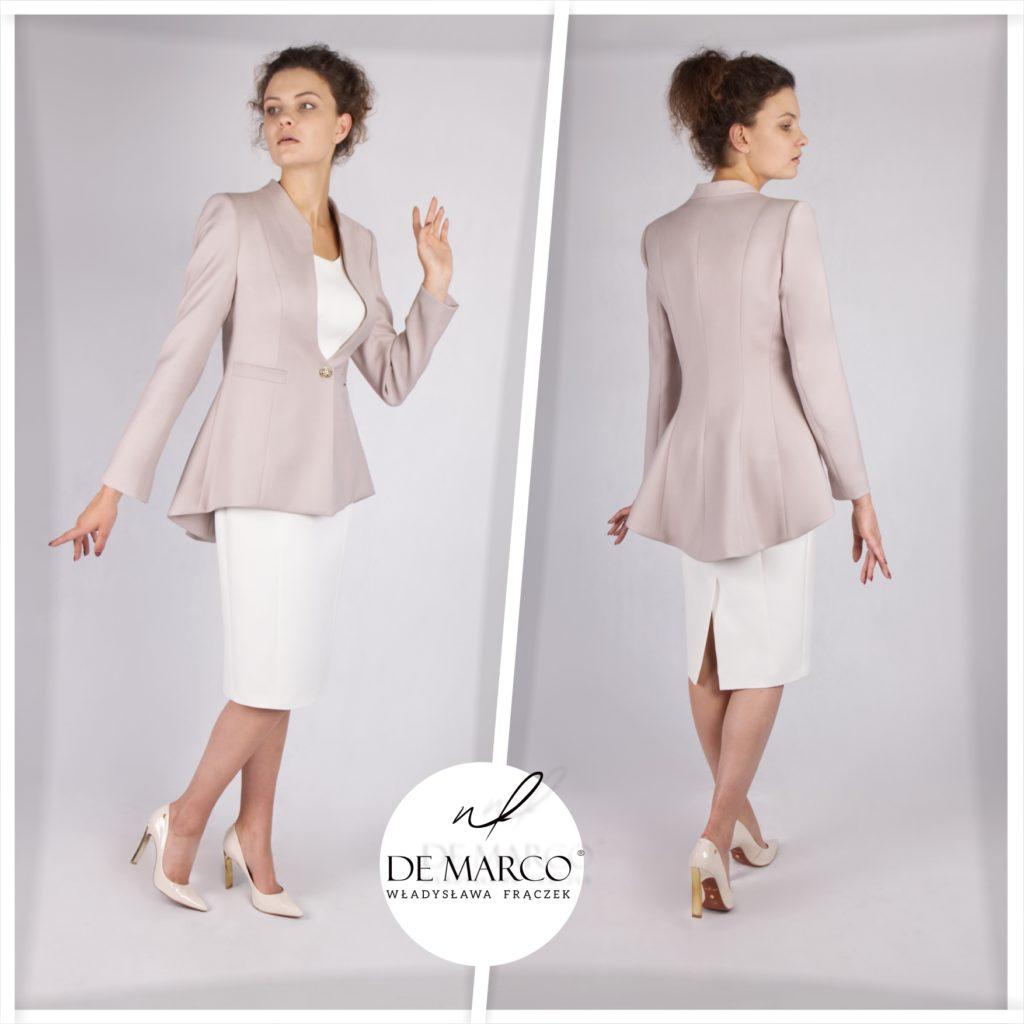 Komplet sukienka z frakiem dla matki weselnej. Ekskluzywna odzież damska szyta na miarę w De Marco. Zapraszamy na sklep internetowy.