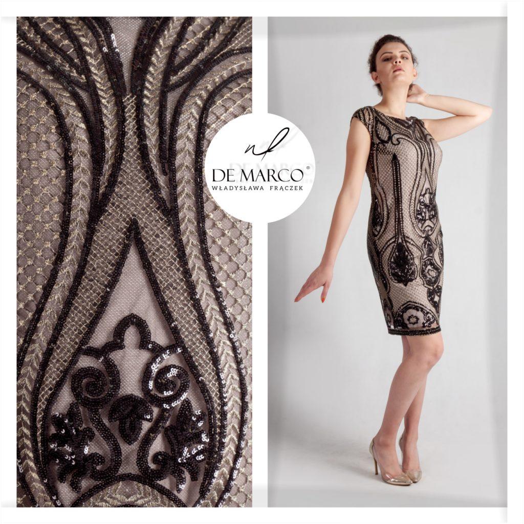 Ekskluzywne sukienki na wesele. Złoto czarna kreacja idealna dla mamy weselnej szyta na miarę. Zamów w sklepie De Marco. Polscy projektanci-sukienki na miarę.