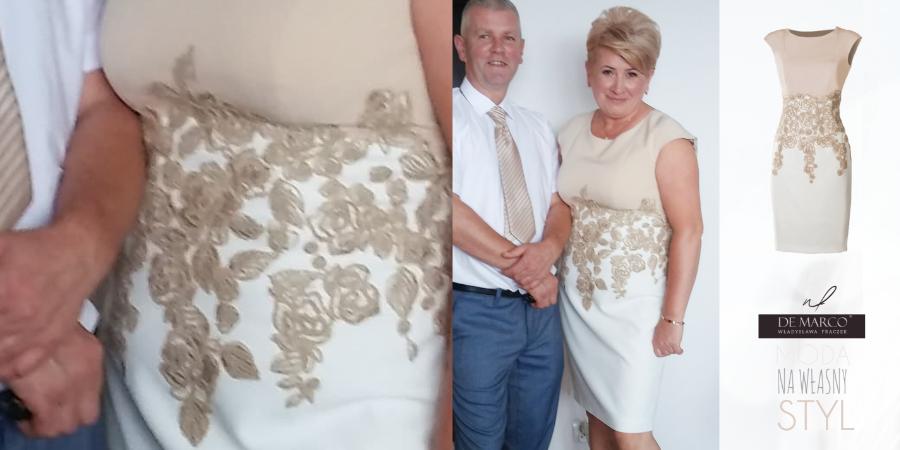 Jak prezentują się sukienki De Marco naprawdę, na żywo, na prawdziwej mamie wesela! Sukienka ze złotą koronką zaprezentowana przez naszą kochaną klientkę :)