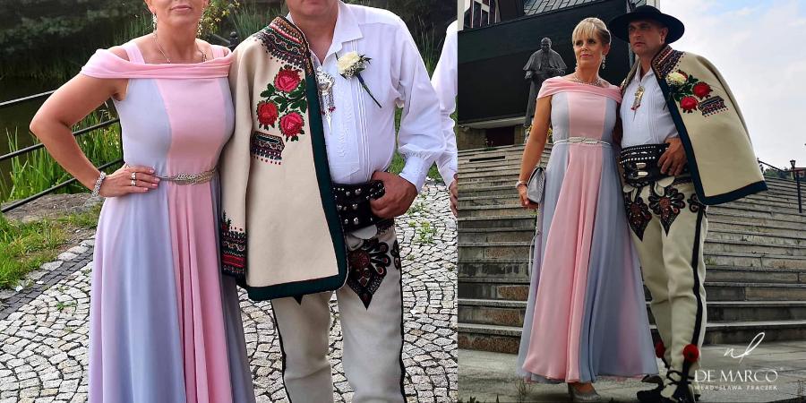 Długa lekka zwiewna suknia na ślub syna lub córki. Najpiękniejsze sukienki na wesele dla mamy. Sklep on-line De Marco.