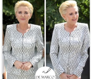 Pierwsza Dama Agata Duda w żakardowej garsonce z Frydrychowic. Wizytowe kostiumy damskie De Marco.