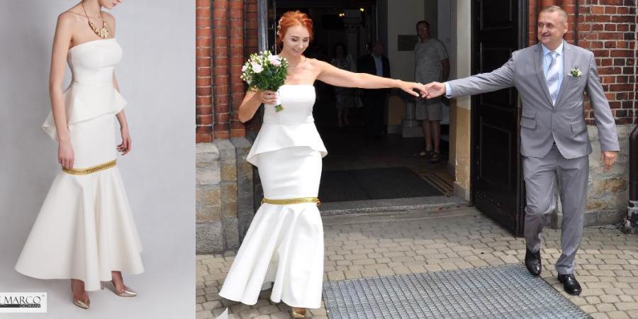 Suknia ślubna rybka dla młodej pani po 40+. Szycie na miarę kreacji ślubnej u projektantki Frączek. Sklep De Marco.