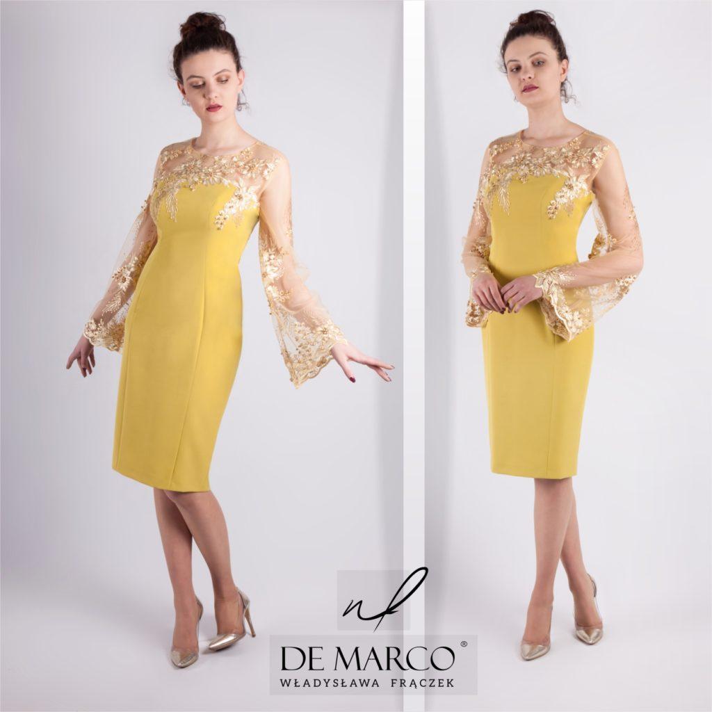 Musztardowa sukienka ze złotą koronką dla mamy wesela. Szycie na miarę u projektanta. Sklep De Marco z ekskluzywną odzieżą damską.