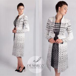 Ekskluzywny komplet wizytowy. Czarno biały zestaw płaszczyk ze spódnicą szyjemy w każdym rozmiarze. Profesjonalna pracownia krawiecka polskiej projektantki mody.