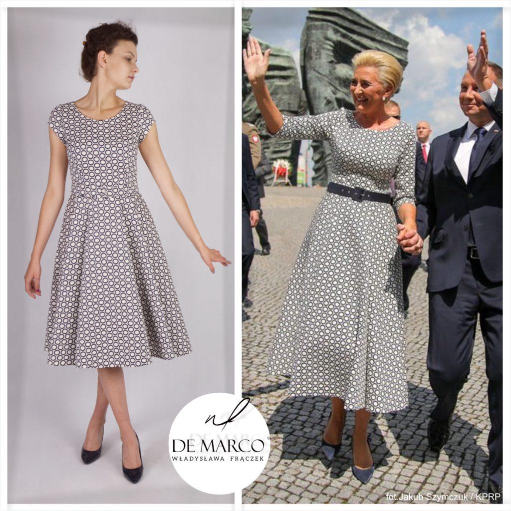 Eleganckie sukienki wizytowe dla mamy weselnej to nasza specjalność, ale jak widać niejedyna. Ubiera się u nas pierwsza Dama Agata Duda. Szyjemy na miarę ekskluzywne stylizacje on-line. Zapraszamy do Salonu Mody De Marco lub do sklepu internetowego.