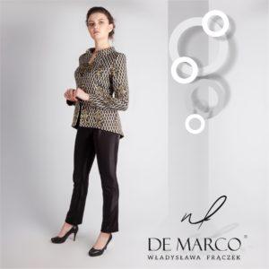 Żakardowy złoto czarny żakiet ze spodniami. Wizytowa stylizacja ze spodniami dla kobiet sukcesu, biznesu :) Sklep De Marco.