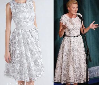 10 najlepszych stylizacji De Marco które wybrała Pierwsza Dama … Kreacja 5  Srebrna sukienka do połowy łydki w stylu Pierwszej Damy Agaty Dudy.