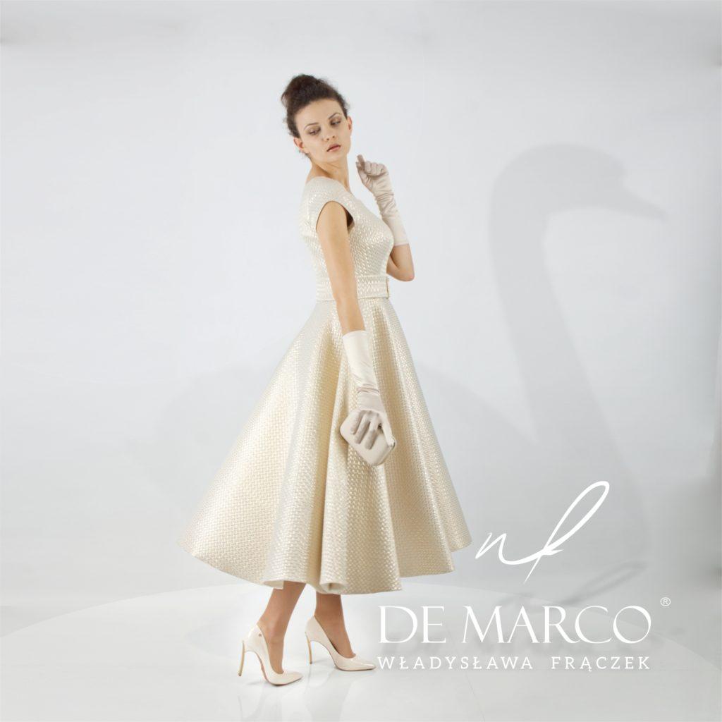 złota balowa suknia w stylu retrao dla matki wesela. Szycie na miarę De Marco