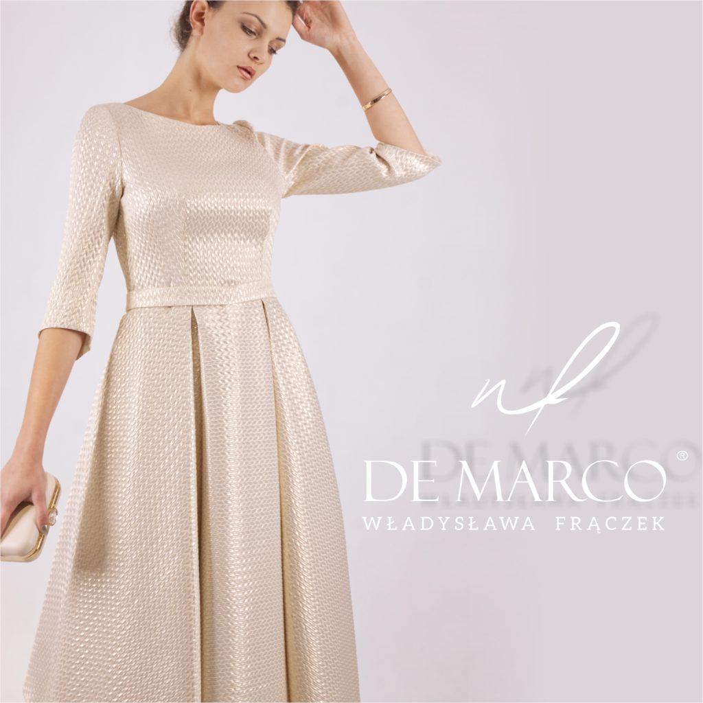 Złota suknia na wesele dla mamy. Szycie na miarę u projektanta z Małopolski. De Marco Frydrychowice k/Wadowic kolo Krakowa