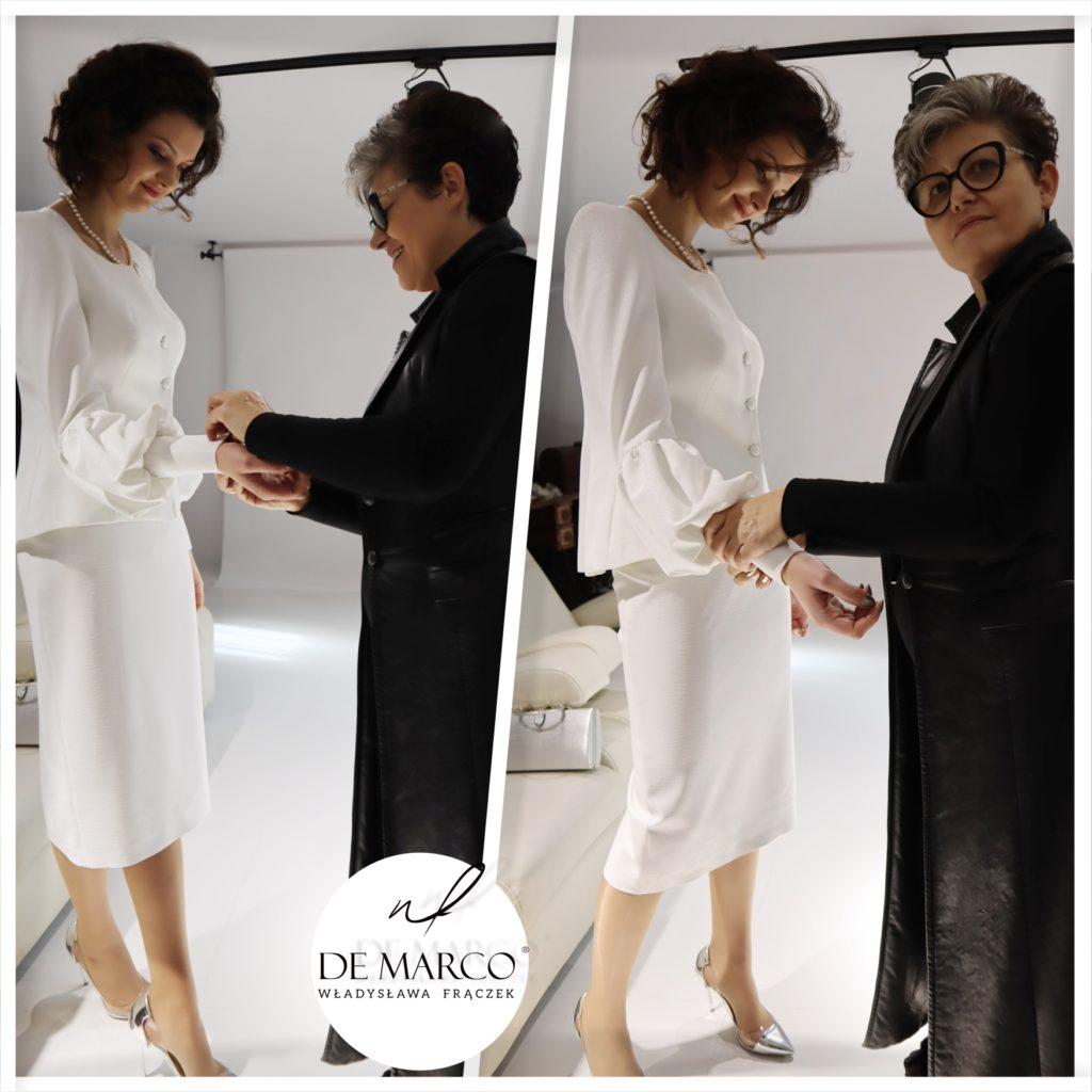 Elegancki kostium damski dla pani młodej po 40, 50, 60. Szycie na miarę ekskluzywnej odzieży damskiej De Marco.