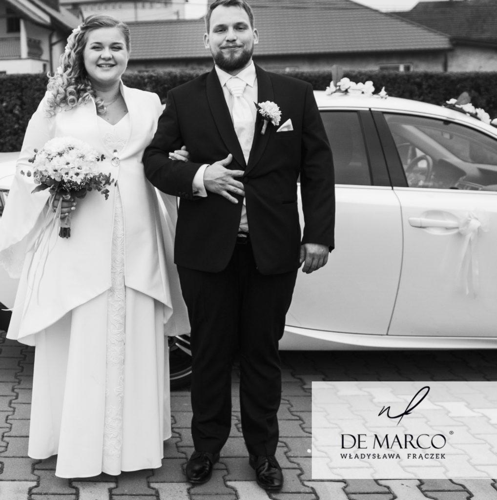 Suknia ślubna z płaszczem szyta na miarę. Pani młoda z brzuszkiem :)
