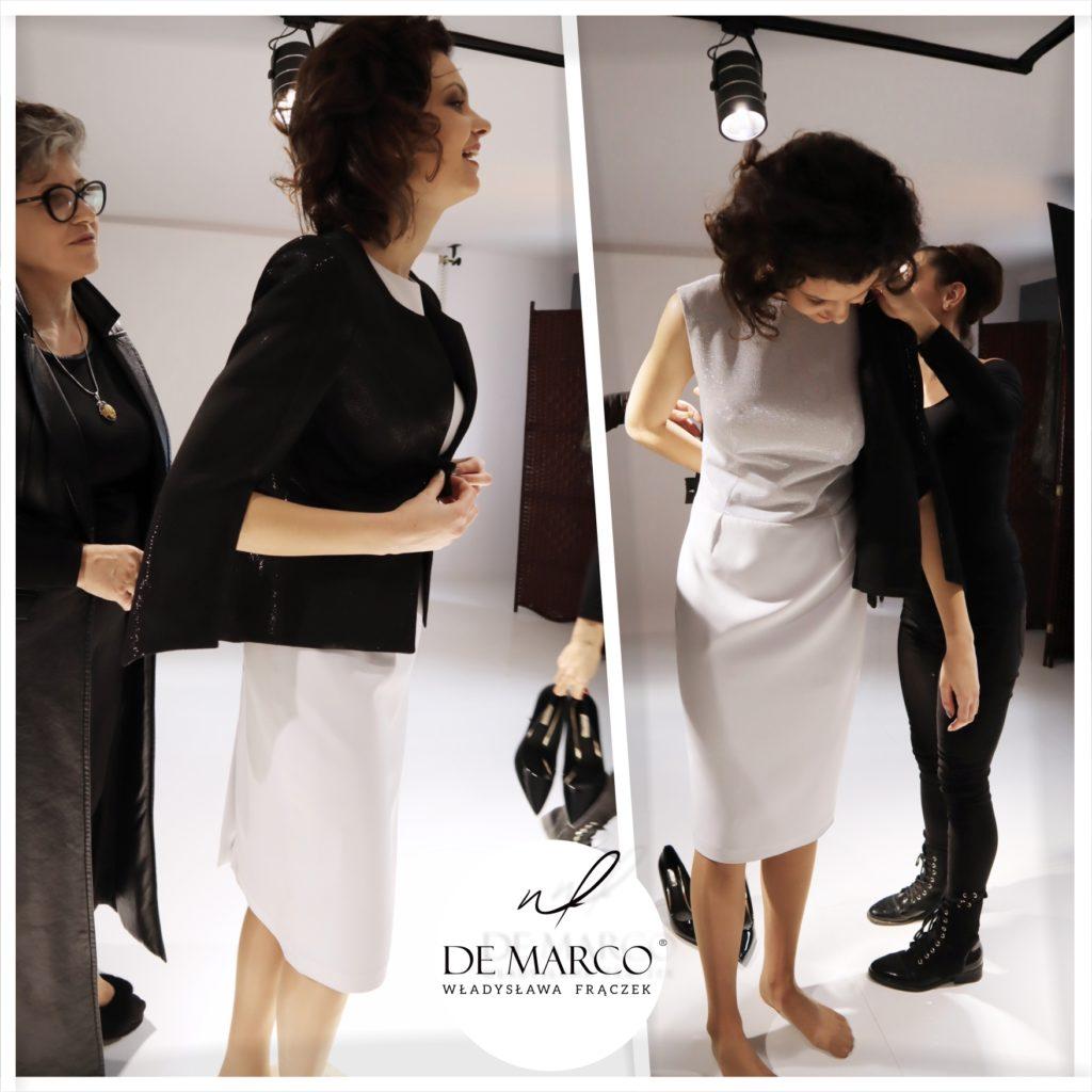 Eleganckie sukienki z żakietami szyte na miarę u projektanta. Salon Mody De Marco