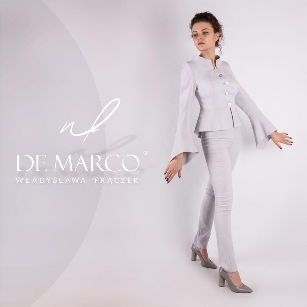 Jasno popielaty garnitur damski na wesele, komunię, wernisaż, odbiór dyplomu i odznaczenia. Profesjonalna odzież dyplomatyczna De Marco.
