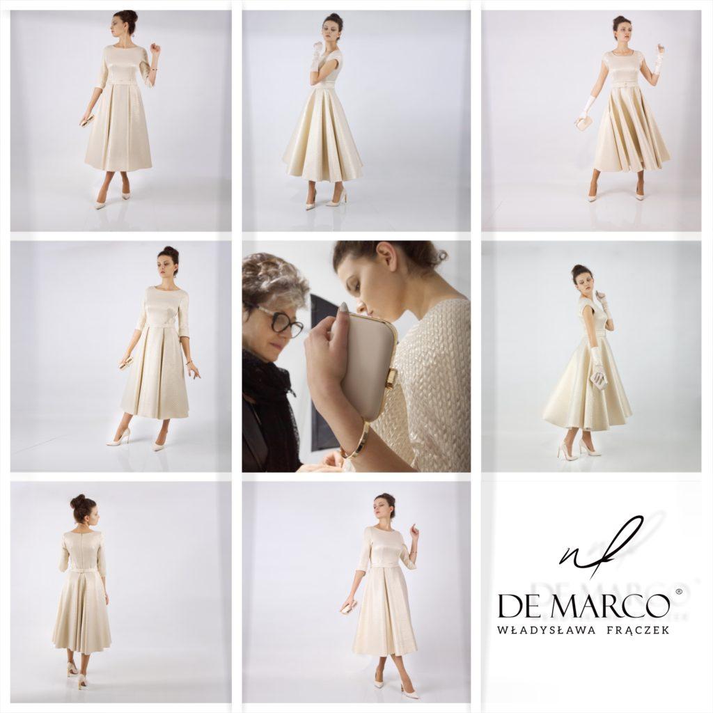 Kompleksowa obsługa: stylizacja projektowanie i szycie na miarę dla mamy wesela, matki chrzestnej, babci panny nłodej lub pana młodego oraz suknie ślubne dla młodej pani.